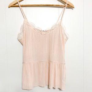 Amisu pink lace peplum frilly camisoles size S NWT